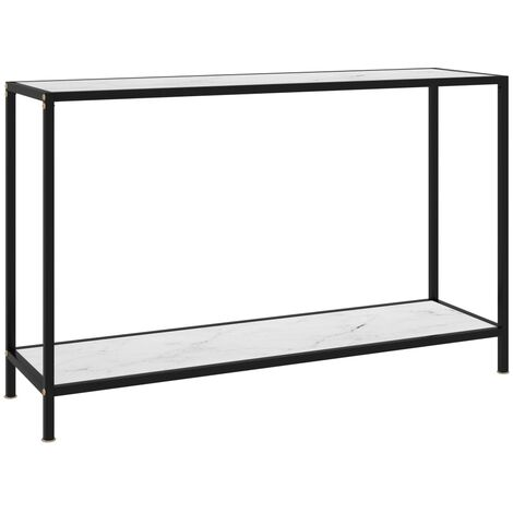Console Table White 120x35x75 cm Tempered Glass
