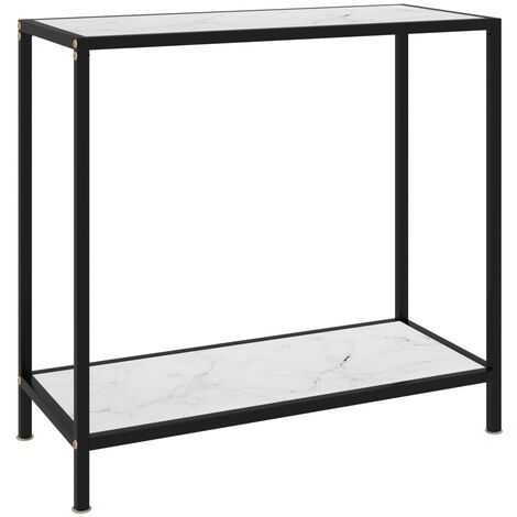 Console Table White 80x35x75 cm Tempered Glass