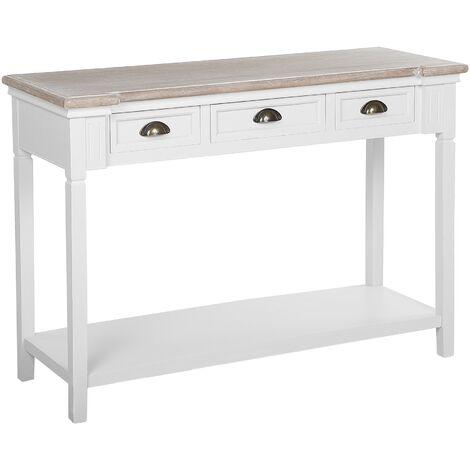Console Table White Modern Rustic MDF Wood Veneer 3 Drawers Hallway Kasaan