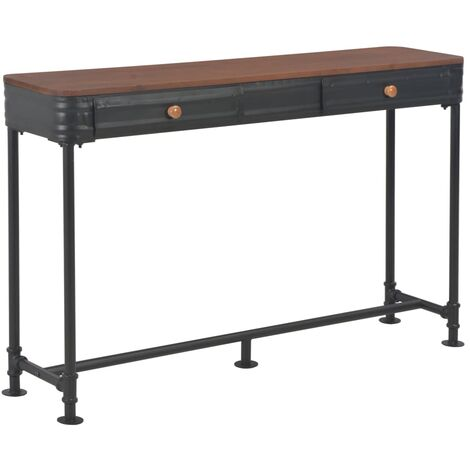 Console Table with 2 Drawers 120x30x75 cm Solid Fir Wood