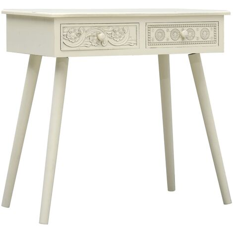 Console Table with 2 Drawers Carving Grey 80x40x77.8 cm Wood