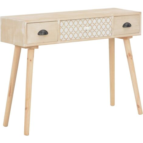 Console Table with 3 Drawers 100x30x73 cm Solid Pinewood
