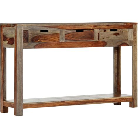 Console Table with 3 Drawers 120x30x75 cm Solid Sheesham Wood