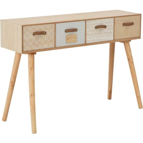 Console Table with 4 Drawers 110x30x75 cm Solid Pinewood