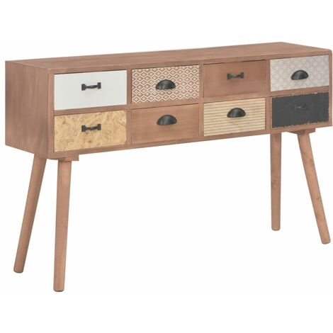 Console Table with 8 Drawers 120x30x76 cm Solid Pinewood