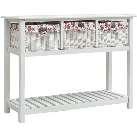 Console Table with Three Baskets White Wood