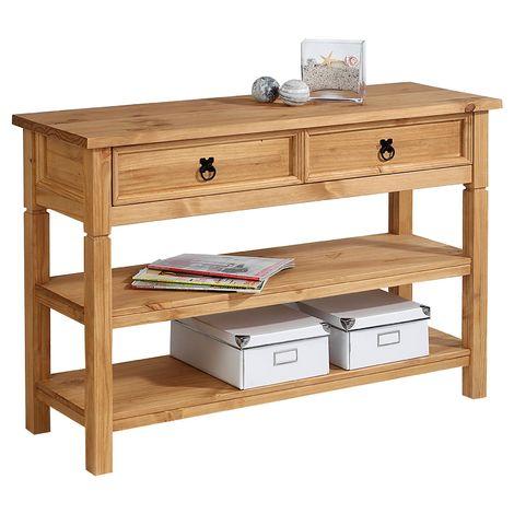 Console TEQUILA table d'appoint style mexicain avec 1 tiroir et 2 étagères, en pin massif finition teintée/cirée