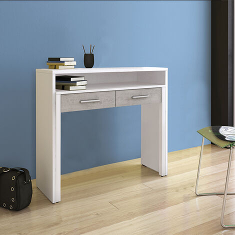 Consolle con scrivania ufficio estraibile dimensioni 99x36x88h cm, scrittoio Tomasucci a scomparsa in legno melaminico con due cassetti.