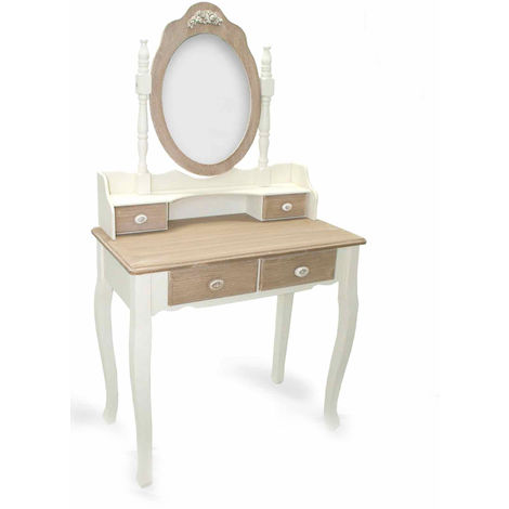 Consolle Con Specchio.Consolle Con Specchio Mobile Toeletta In Legno Bianco E Marrone T3223 3224 Bm