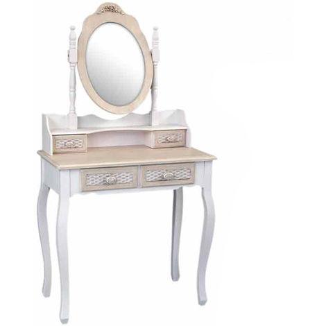 Consolle Con Specchio.Consolle Mobile Toeletta Con Specchio 4 Cassetti 75x40x70 Arredo Casa T7044 45