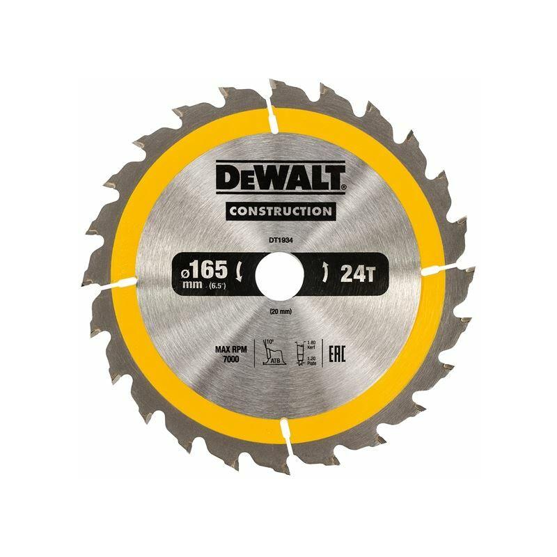 Image of Construction Circular Saw Blade 165 x 20mm x 24T (DEWDT1934QZ)