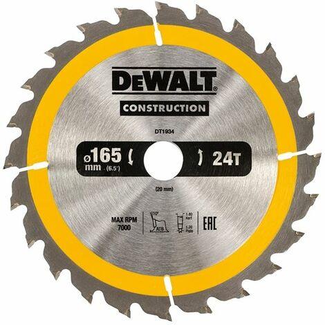 Construction Circular Saw Blade 165 x 20mm x 24T (DEWDT1934QZ)