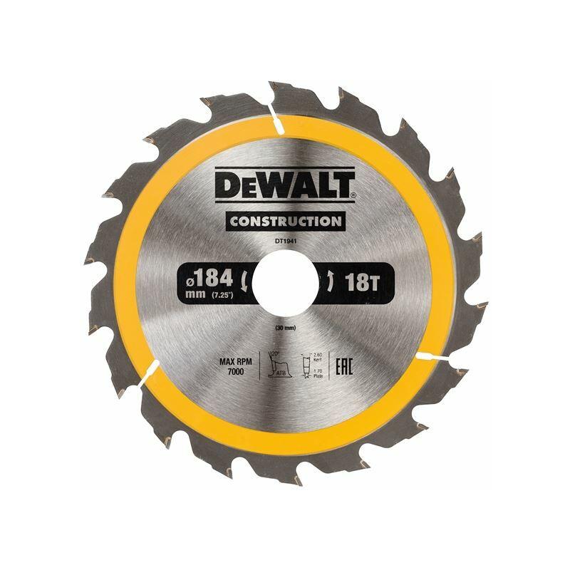 Image of Construction Circular Saw Blade 184 x 30mm x 18T (DEWDT1941QZ)