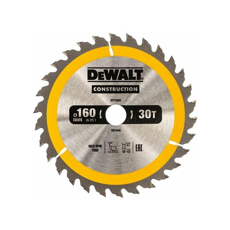 Image of Construction Circular Saw Blade 160 x 20mm x 30T (DEWDT1932QZ)