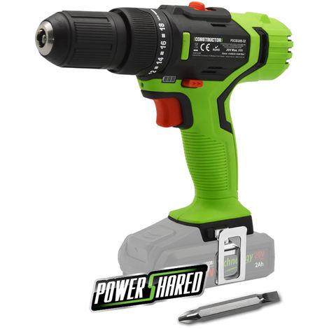 CONSTRUCTOR POWER SHARED PSCID20B-32 - Taladro atornillador percutor de 20V, 5 años de garantía. Batería no incluida