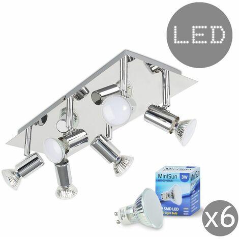 Consul Chrome Spotlight & 6x19636 3w LED GU10 Bulbs - Silver