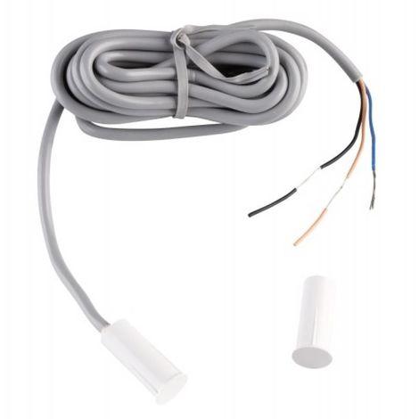 Contact magnétique cylindrique à encastrer, 3 fils, inverseur, câble 2 m, menuiserie bois