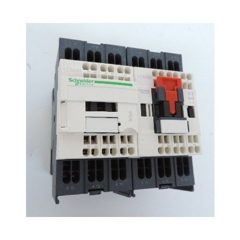 Contacteur inverseur 9A 3P 440V AC-3 contact 3F (3NO) aux 1F 1O bobine 115V CA 50-60Hz bornes ressort TESYS Schneider LC2D093FE7