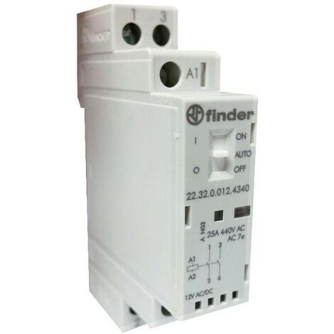 Contacteur modulaire Finder 25A 2NO 12VAC/DC 1 formulaire 223200124340