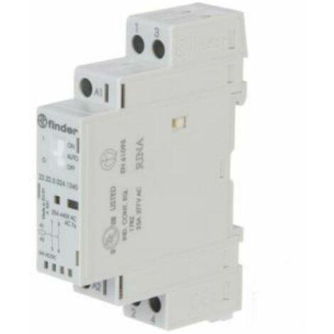 Contacteur modulaire Finder 25A 2NO 24VAC/DC 1 formulaire 223200241340