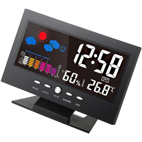 Contador digital de humedad y temperatura LCD, reloj de estacion meteorologica