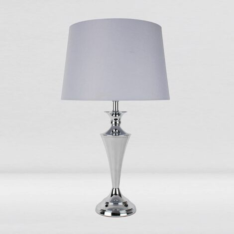Contempoary Polished Chrome Table Lamp Bedside Lights with Grey or White Shade