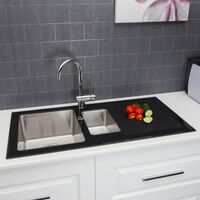 Contemporary 1.5 Bowl Kitchen Sink with Glass Surround and Drainer