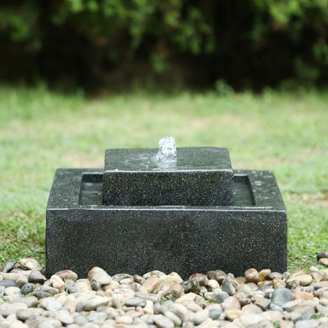Contemporary 2 Tier Square Outdoor Water Fountain with LED Lights