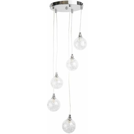 Contemporary 5 Light Ceiling Drop Fitting Chrome with Glass Shades Modern Design