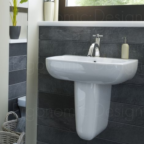Contemporary 550mm Semi Pedestal Basin 1 Tap Hole