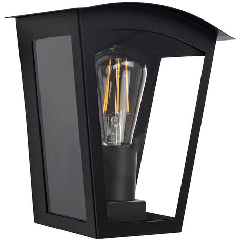 Contemporary and Industrial Matt Black Outdoor Flush Lantern Wall Light Fitting by Happy Homewares