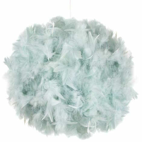 Contemporary and Unique Large Duck Egg Real Feather Decorated Easy Fit Shade by Happy Homewares