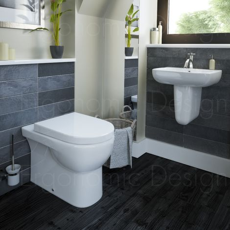 Contemporary Back To Wall Wc 4 Piece Bathroom Suite With Toilet And Basin