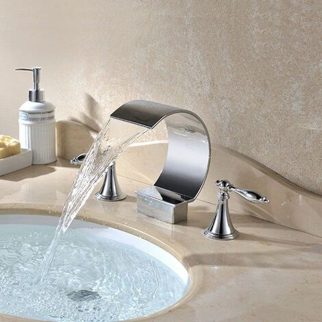 Contemporary basin mixer tap with waterfall spout in solid chromed brass