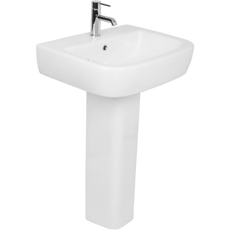 Contemporary Bathroom Cloakroom Full Pedestal 560mm Basin Compact Single Tap Hole Sink