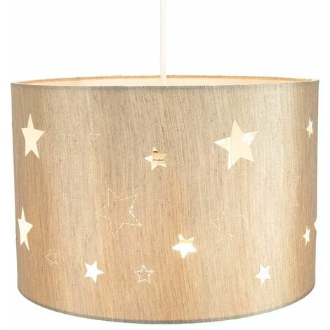 Contemporary Beige Linen Childrens/Kids Pendant/Lamp Shade with Laser Cut Stars by Happy Homewares