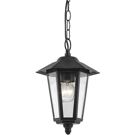 Contemporary Black Die-Cast Hanging Lantern Porch Light Fitting by Happy Homewares