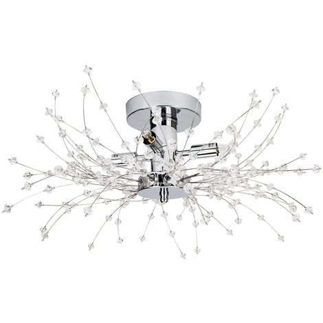 Contemporary Chrome Ceiling Light with Transparent Acrylic Beads and Metal Wires by Happy Homewares
