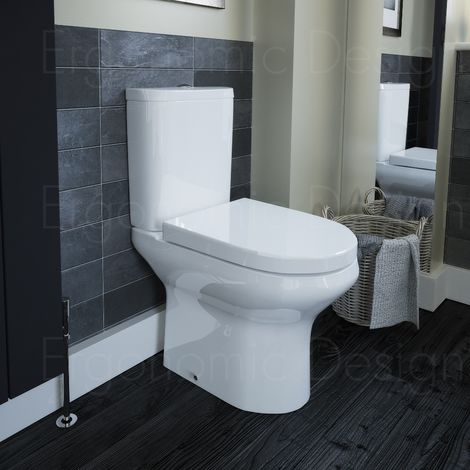 Contemporary Comfort Height Open Wc Toilet  With Cistern And Soft Close Seat