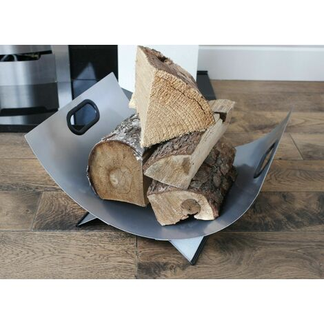 """main image of """"Contemporary Curved Fireside Log Holder"""""""