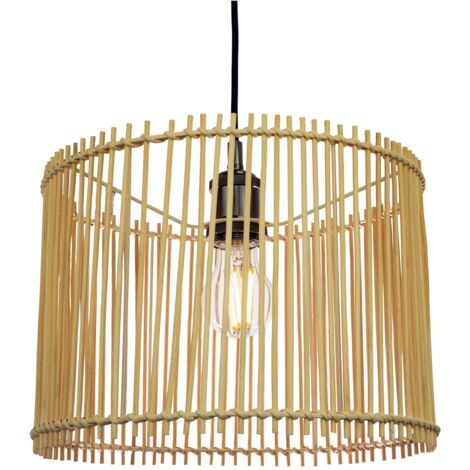 Contemporary Drum Style Light Brown Rattan Wicker Ceiling Pendant Lamp Shade by Happy Homewares