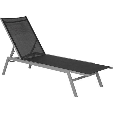 """main image of """"Contemporary Garden Sun Lounger Steel Textile Reclining Black Silver Noli"""""""