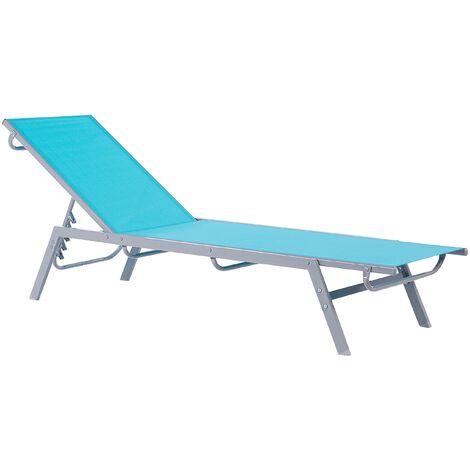 """main image of """"Contemporary Garden Sun Lounger Steel Textile Reclining Blue Silver Noli"""""""