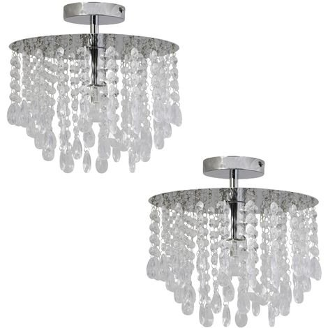 Contemporary Glam Chrome & Acrylic Crystal Ceiling Light Fitting Chandelier