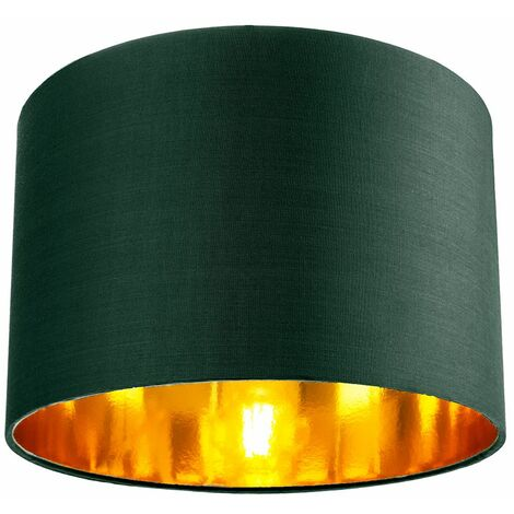 """main image of """"Contemporary Green Cotton 12"""" Table/Pendant Lamp Shade with Shiny Copper Inner by Happy Homewares"""""""