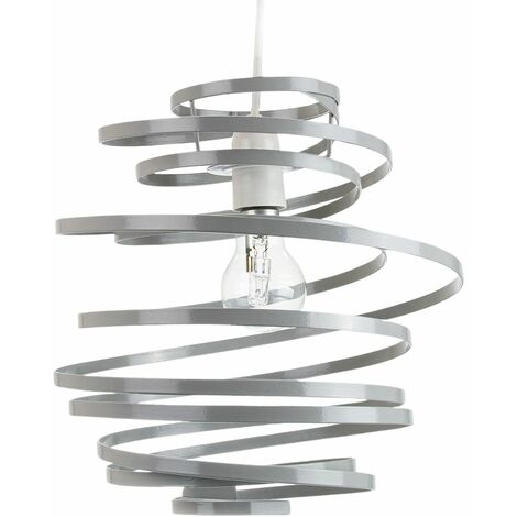 Contemporary Grey Gloss Metal Double Ribbon Spiral Swirl Ceiling Light Pendant by Happy Homewares