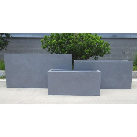 Contemporary Grey Light Concrete Trough Planter H30 L65 W19 cm