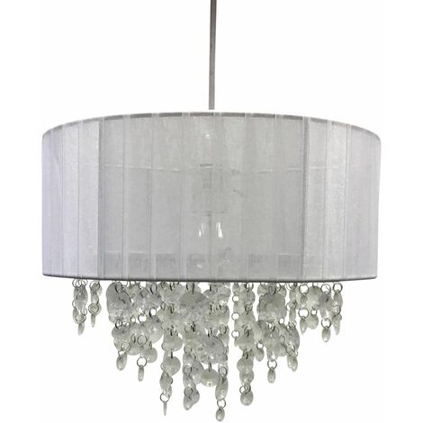 Contemporary Grey or White Ceiling Light Shade Clear Jewels Lampshade Pendant