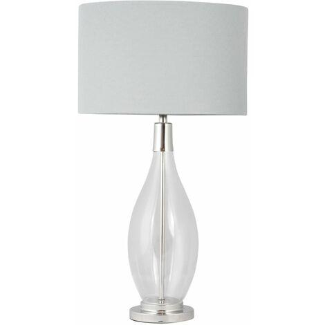 Contemporary Large 55cm Glass & Chrome Table Lamp Bedside Light Grey Linen Shade
