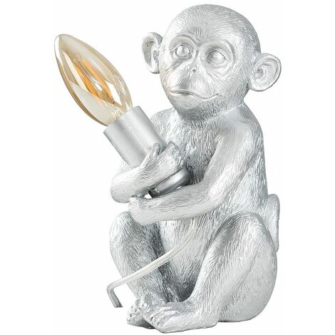 Contemporary LED Table Lamp Baby Monkey Holding Bulb Style Animal Theme - Silver